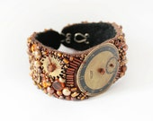 Brown Cuff Bracelet, Beaded Embroidery, Watch gears and glass beads, autumn colors, brown gold, steampunk hand piece bead work, clockwork
