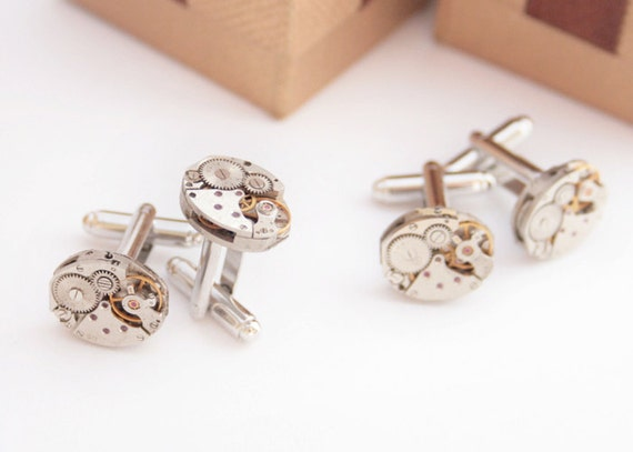 Items Similar To 3 SETS Groomsman Cufflinks Usher Best Man Jewellery Authentic Oval Clock