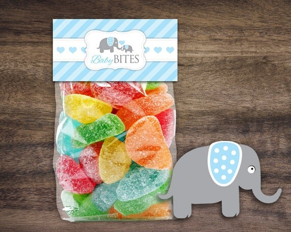 instant download elephant baby shower treat bag toppers