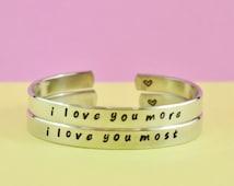 i love you more/i love you most - Hand Stamped Cuff Bracelets Set,  Mother Daughter Bracelets, Love Bracelets, Personalized Jewelry, V2