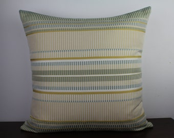 Warm, Subtle Woven 20x20 Throw Pillow Cover - Shades of Green, Yellow, Off White