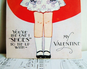Vintage Shoes Valentine Card 1940's Free Standing Die Cut, USA, USA~Youre The One I Shoes To Tie Up With ~ Paper Ephemera  /0301