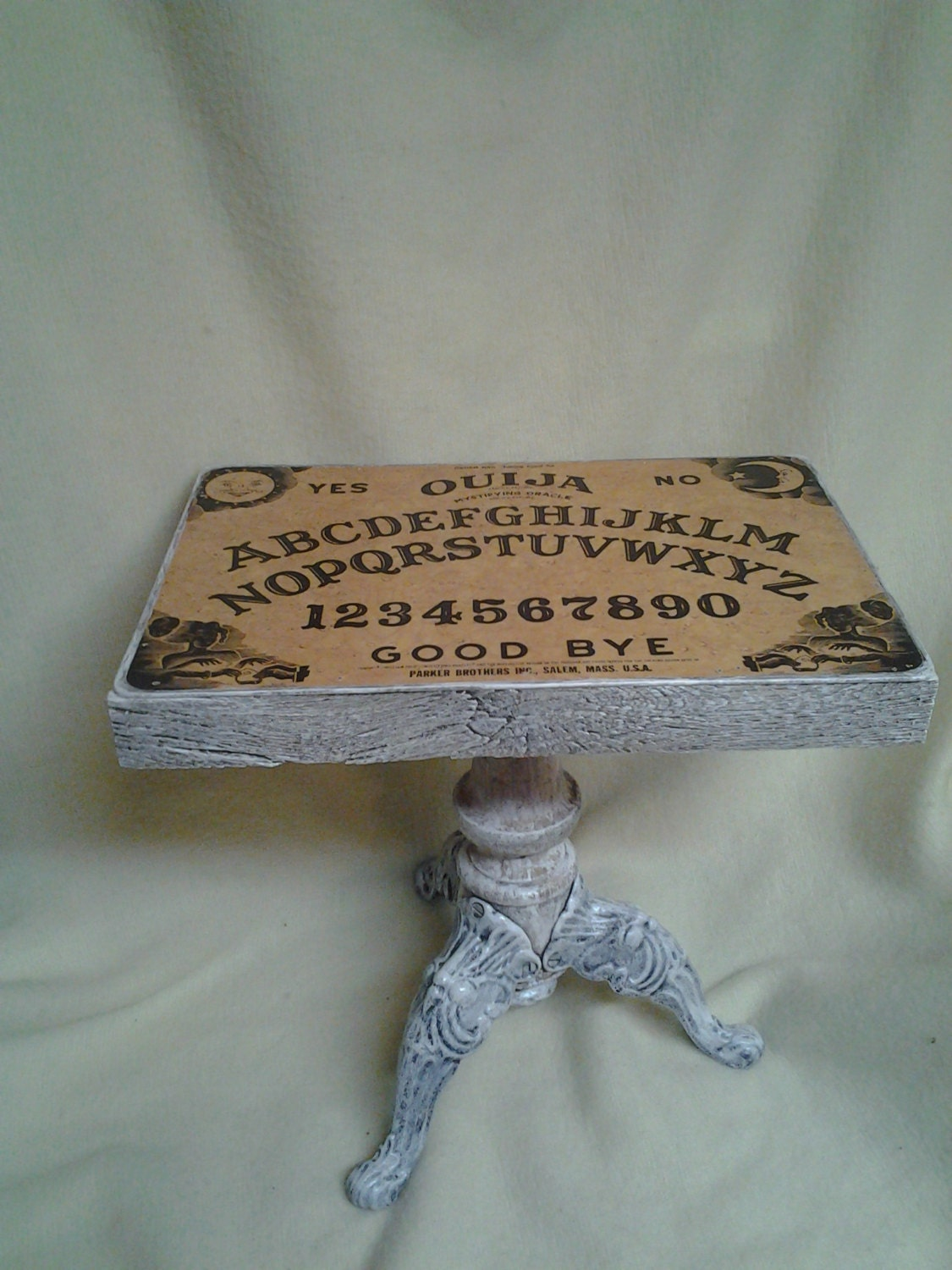 Ouija Board Table With Barn Board Sides And Antique Base Of