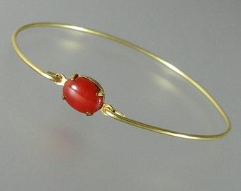 Red Glass Gold Bangle Bracelet, Gold Bangle Bracelet, Gold Bracelet, Bridesmaid Gift  (G171G,)