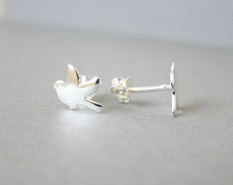 Tiny Sterling Silver Bird Stud Earrings, Sparrow Earrings, Cute earrings.