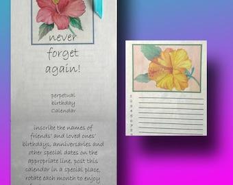 Floral perpetual birthday calendar