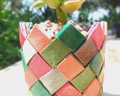 "Origami plant basket  - jewel tones - strong sturdy basket with succulent  Graptosedum ""California Sunset"" - ChickenJungle"