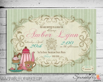 Bridal Shower / Baby Shower / Birthday Vintage High Tea Invitation (DIY Printable)