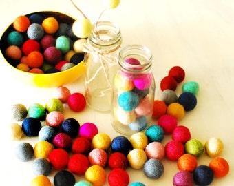 Felt Balls x200 Mixed Colours. 2cm. Wool. Colourful. Multicolour. Bulk.