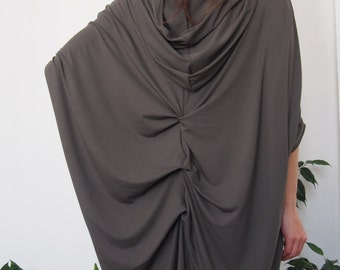 Over-Sized Long Jersey Tunic Asymmetric Blouse Back Detail Top & NaraTT002