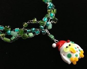 Lampwork Christmas Owl on green glass beaded wire crochet necklace charity donation Compassion International