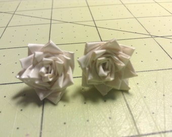 Duck Tape Rose Earrings- White