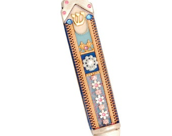 Jewish Mezuzah - Colorful Mezuzah Case by Ester Shahaf