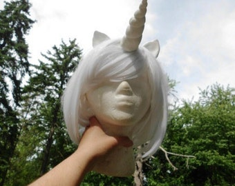 Unicorn Wig White Unicorn Horn Costume Wig Short Bob My Little Pony Cosplay MLP