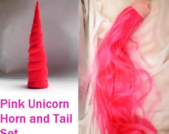"Unicorn Horn and Tail Set Pink  MLP Horn Headband 5"" Unicorn Costume Tail"