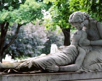 "Cemetery Statue Romantic Sculpture - 11""x17"" Photograph Fine Art Gothic Female Figures Montreal Eerie Dark Gothic Photo"