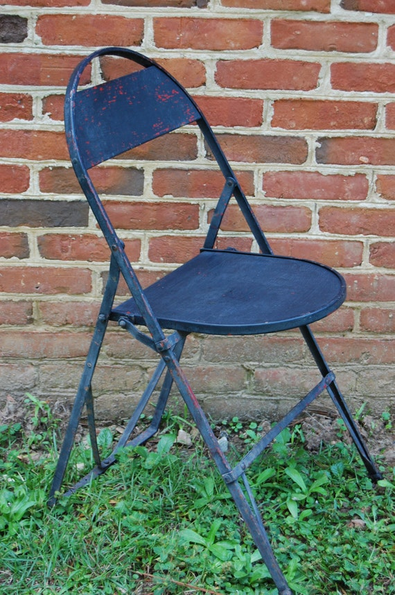 Vintage Industrial Black Metal Folding Chair by PickersWarehouse