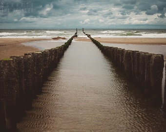 PASSAGE photography print, dramatic blue and gold beach landscape, 8x12