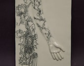 Porcelain Bas Relief - 'Yakuza Tattooed Nude' - ceramic sculpture, wall tile, wall art, and table art