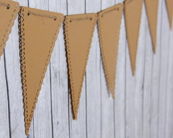 Kraft banner - triangle banner - reusable banner - bunting banner - wedding photo prop - birthday banner - name banner - burlap banner