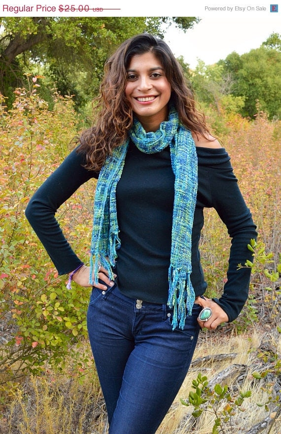 40% OFF SALE Handwoven Scarf: Green and Blue Knit Scarf, Fall Scarf, Boho Scarf, Fall Fashion, Woven Scarf