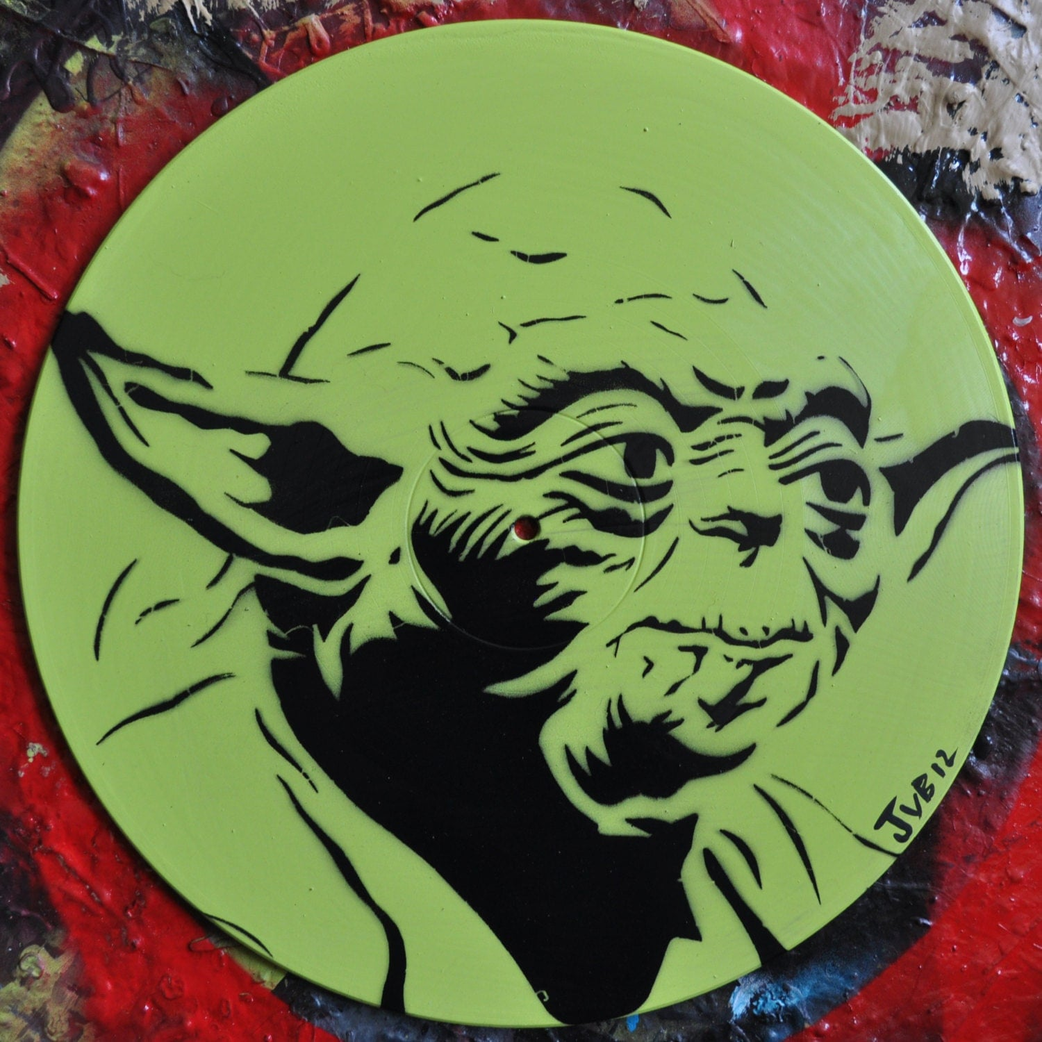 Yoda Stencil Portrait On Repurposed Vinyl Record