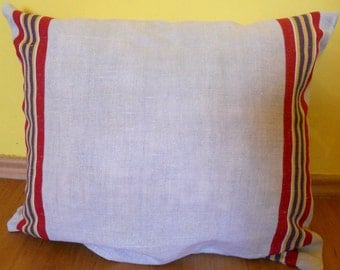 Vintage European Grain Sack Pillow cover with Red yellow blue green Stripe