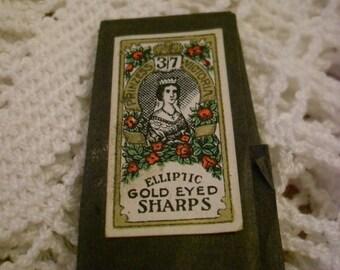 Vintage sewing needles -Elliptic gold eyed SHARPS -Prinzess Victoria