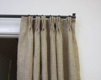 "84"" - 90"" Pinch pleat burlap panels/ pinch pleat panels/ burlap curtains/Rustic Decor/Burlap drapes/Home and  Living/Decor and Housewares"