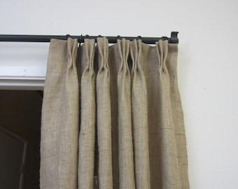 "84"" - 95"" Pinch pleat burlap panels/ pinch pleat panels/ burlap curtains/Rustic Decor/Burlap drapes/Home and  Living/Decor and Housewares"