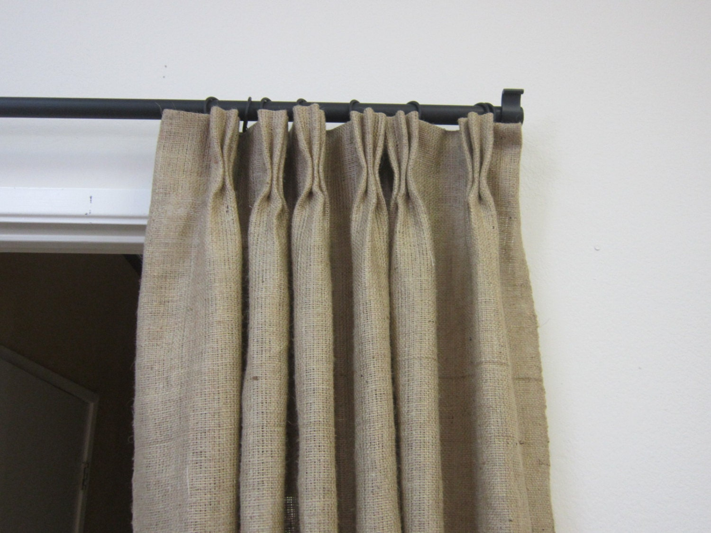 Pinch Pleat Drapes: 84 90 Pinch Pleat Burlap Panels/ Pinch Pleat