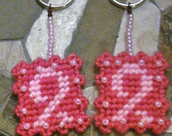 Pink Ribbon Breast Cancer Keyring Needlepoint Plastic Canvas