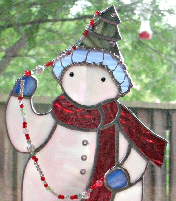 ON SALE Snowman Christmas decoration stained glass by ...