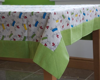 Linen Easter tablecloth . Easter kitchen decoration. Easter Chickens . Green Frame Tablecloth.