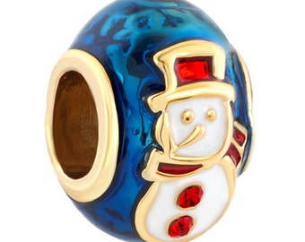 Authentic Pugster Brand Snowman Faberge Egg Charm for european style bracelet
