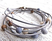Leather Bracelet gray #69,Lava Look Polaris,Ladies Bracelet,Handmade Jewelry,Multi-strand,Double Wrap,Boho Chic,Women,Bridesmaid,Stainless