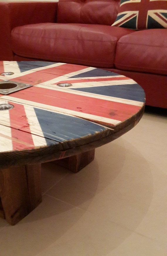 Items Similar To Reclaimed Cable Drum Rustic Union Jack Coffee Table On Etsy