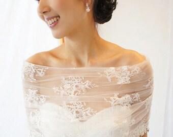 EMS Free shipping,Couture Lace Bridal Bolero,bridal cape,race cape,Wedding Bolero ,Lace Bolero by AYASOPHIA Bridal,tie on