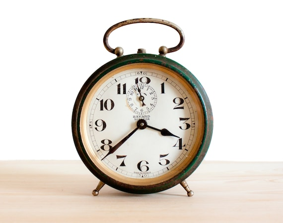 amazing antique large bayard alarm clock dark green french