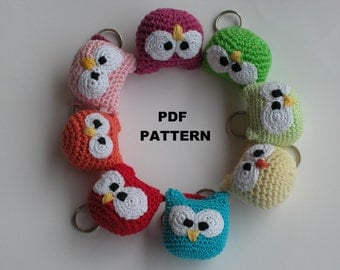 Instant Download - Crochet PATTERN 241 amigurumi   owl crochet  keychain. (Permission to sell finished items)