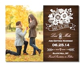 Wood Save The Date Magnet or Card DIY PRINTABLE Digital File or Print (extra) Photo Save The Date Flower Save The Date Country Save The Date