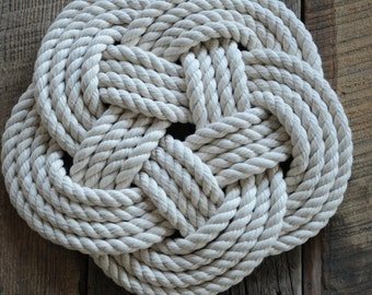 Nautical Cotton Rope Trivet - Nautical Decor - Nautical Kitchen Gift - Cotton Rope -
