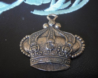 Solid bronze large crown charm or pendant,antique bronze crown,large crown