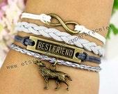 The Wolf bracelet, best friend bracelet, infinity bracelet, Antique bronze bracelet, Vintage style bracelet, charm jewelry friendship gift