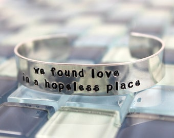 "Rihanna and Calvin Harris ""we found love in a hopeless place"" Bracelet / Aluminum Cuff Dance Bracelet Song Lyrics"
