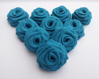 Turquoise Burlap Flowers, Turquoise Burlap Roses , Turquoise Burlap , Rustic Outdoor Vintage wedding decor