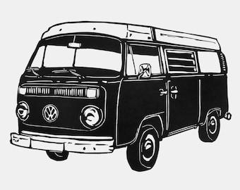 VW Campervan print - campervan linocut, retro art print, gift for traveller