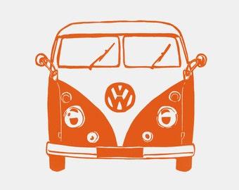 Splitscreen VW print - campervan linocut, retro art print, gift for traveller, festival lover gift