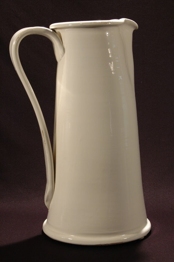 Italian White Ceramic Pitcher Made In Italy Vase Pitcher