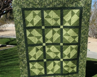 Patchwork Lap Quilt ** Green, Green, Green ** Gift ** Sofa Back ** Bed Runner